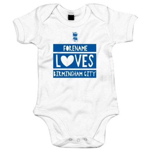 Personalised Birmingham City FC Loves Baby Bodysuit.