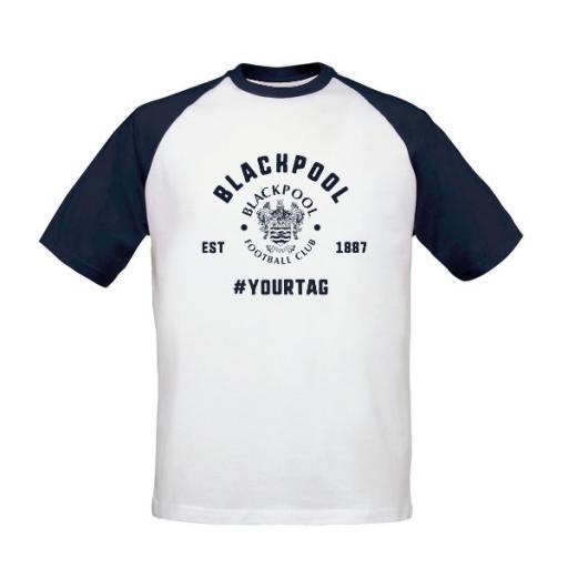 Personalised Blackpool FC Vintage Hashtag Baseball T-Shirt.