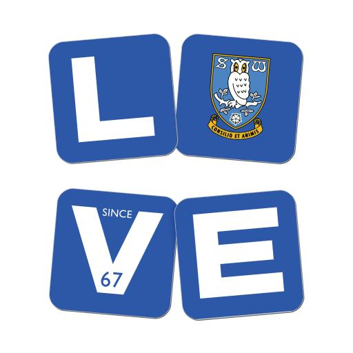 Personalised Sheffield Wednesday Love Coasters (x4).