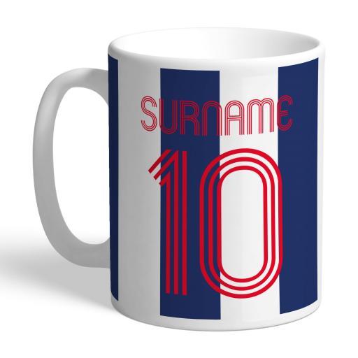 Personalised West Bromwich Albion FC Retro Shirt Mug.