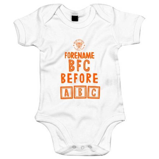Personalised Blackpool FC Before ABC Baby Bodysuit.