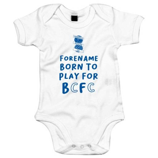 Personalised Birmingham City FC Born to Play Baby Bodysuit.