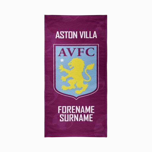 Aston Villa FC Crest Design Towel - 70cm x 140cm