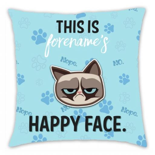 Grumpy Cat Emoji - Happy Face Cushion Blue