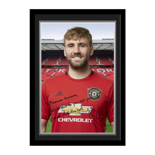 Personalised Manchester United FC Shaw Autograph Photo Framed.