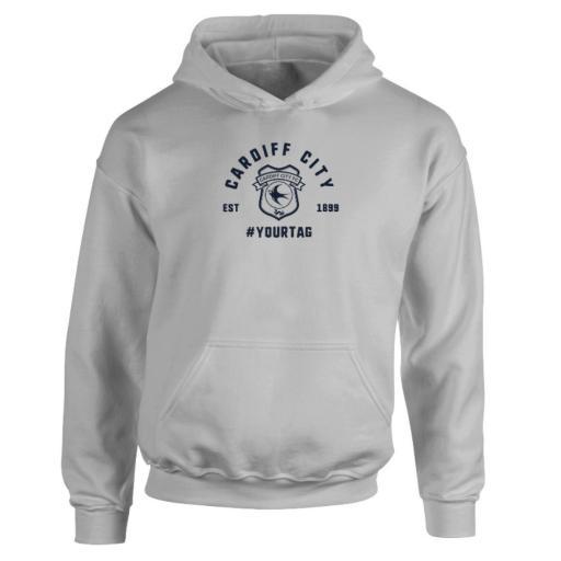Personalised Cardiff City FC Vintage Hashtag Hoodie.