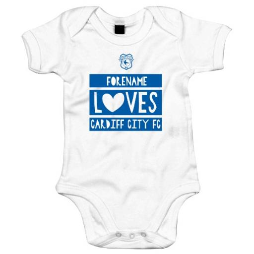 Personalised Cardiff City Loves Baby Bodysuit.