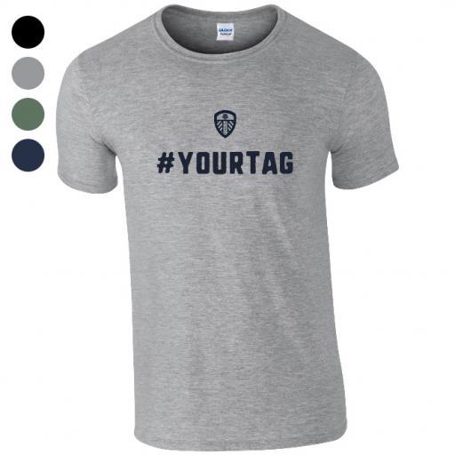 Personalised Leeds United FC Crest Hashtag T-Shirt.