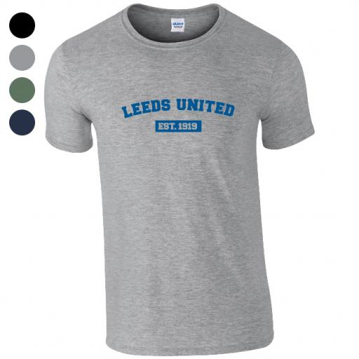 Personalised Leeds United FC Varsity Established T-Shirt.