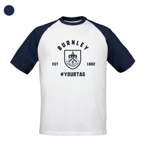 Burnley FC Vintage Hashtag Baseball T-Shirt