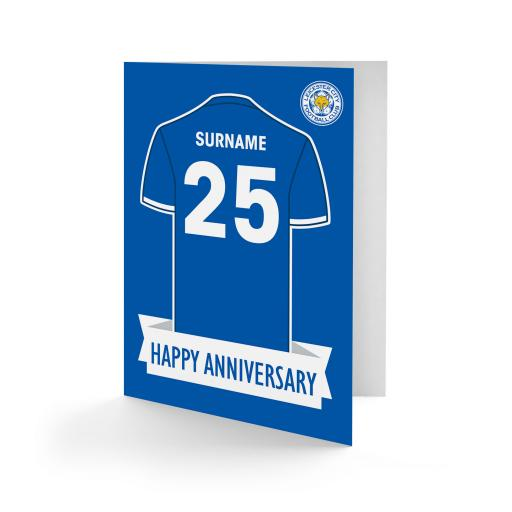 Personalised Leicester City FC Shirt Anniversary Card.