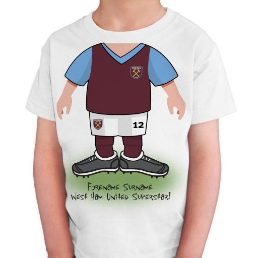 Personalised West Ham United FC Kids Use Your Head T-Shirt.
