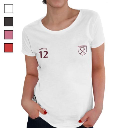 Personalised West Ham United FC Ladies Sports T-Shirt.