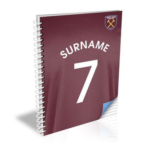 Personalised West Ham United FC Shirt Notebook.