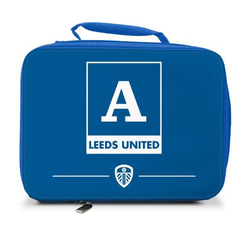 Personalised Leeds United FC Monogram Insulated Lunch Bag - Blue.
