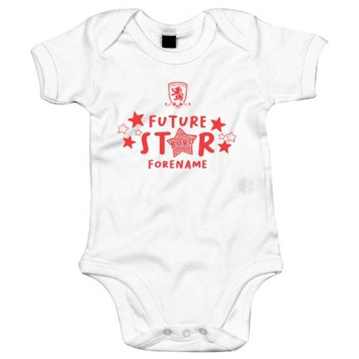 Personalised Middlesbrough FC Future Star Baby Bodysuit.