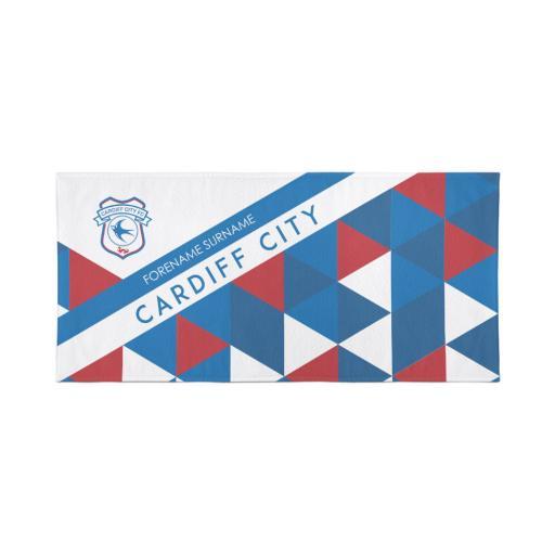 Personalised Cardiff City Personalised Towel - Geometric Design - 80 x 160.