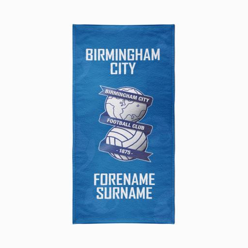 Personalised Birmingham City FC Crest Design Towel - 70cm x 140cm.
