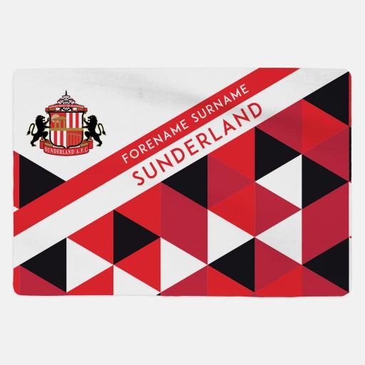 Personalised Sunderland AFC - Geometric - Sherpa Fleece Blanket.