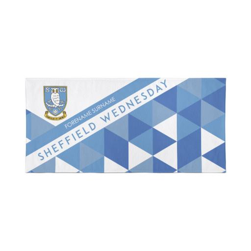 Sheffield Wednesday Personalised Towel - Geometric Design - 80 x 160