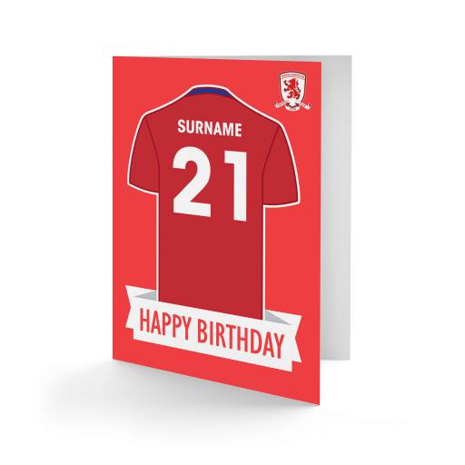 Middlesbrough FC Shirt Birthday Card
