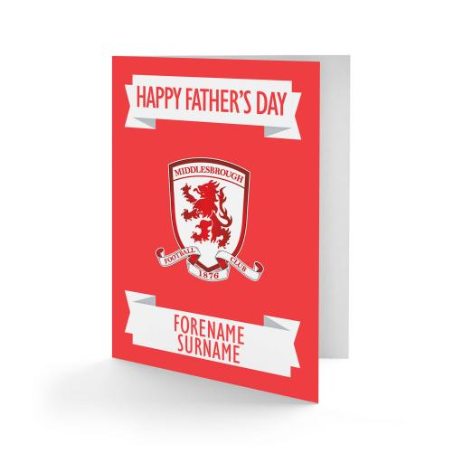 Personalised Middlesbrough FC Crest Father's Day Card.