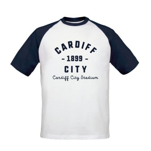 Personalised Cardiff City FC Stadium Vintage Baseball T-Shirt.
