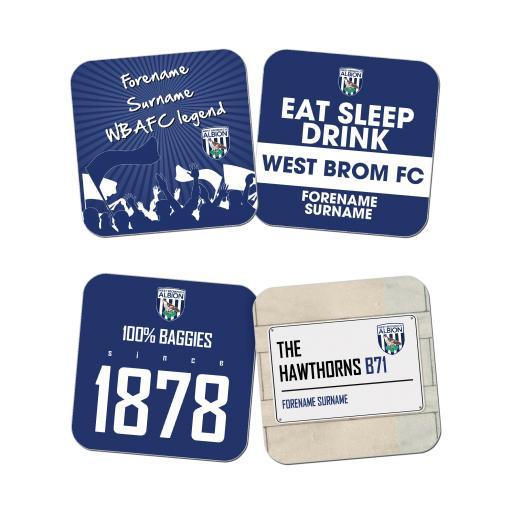 Personalised West Bromwich Albion FC Coasters.