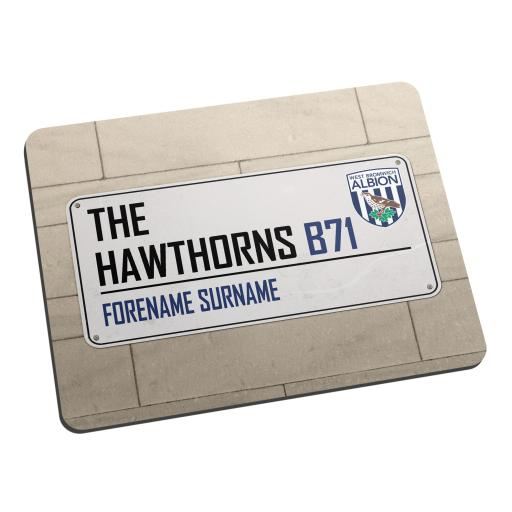 Personalised West Bromwich Albion FC Street Sign Mouse Mat.
