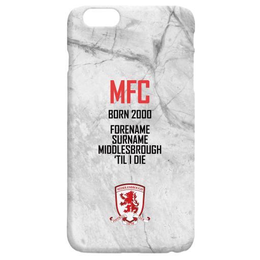 Personalised Middlesbrough FC 'Til I Die Hard Back Phone Case.