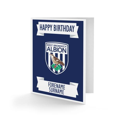 Personalised West Bromwich Albion FC Crest Birthday Card.