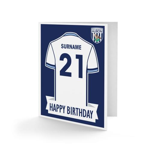 Personalised West Bromwich Albion FC Shirt Birthday Card.