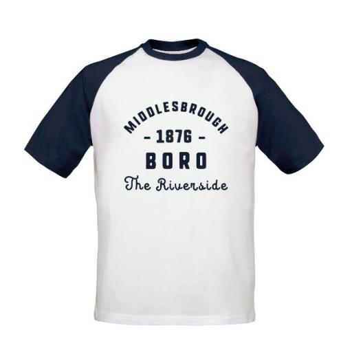 Personalised Middlesbrough FC Stadium Vintage Baseball T-Shirt.