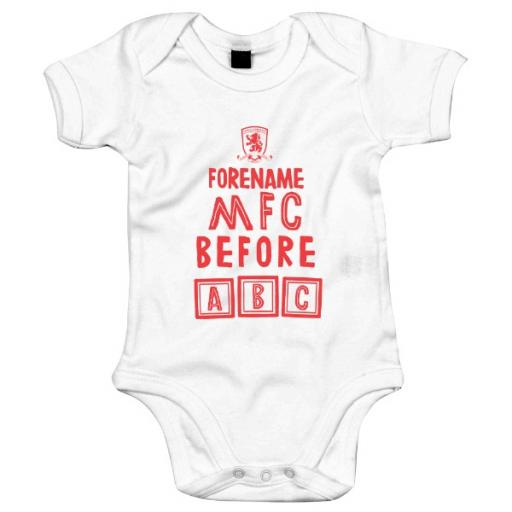Personalised Middlesbrough FC Before ABC Baby Bodysuit.