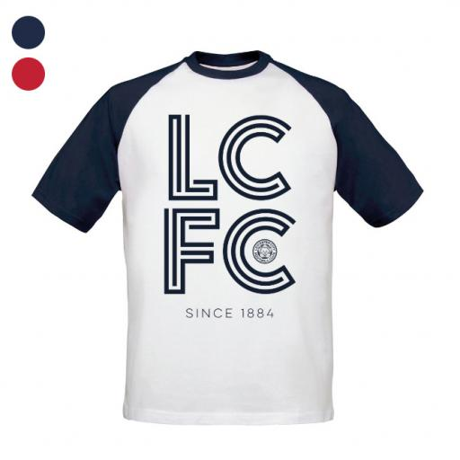 Personalised Leicester City FC Stripe Baseball T-Shirt.