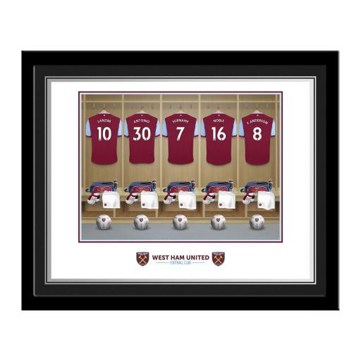 Personalised West Ham United FC Dressing Room Photo Framed.