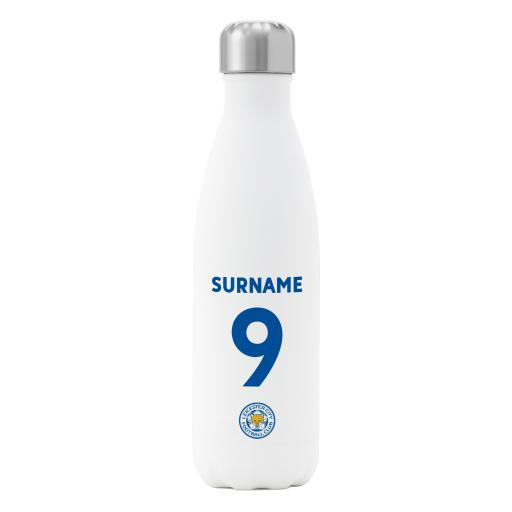 Personalised Leicester City FC Back of Shirt Insulated Water Bottle - White.