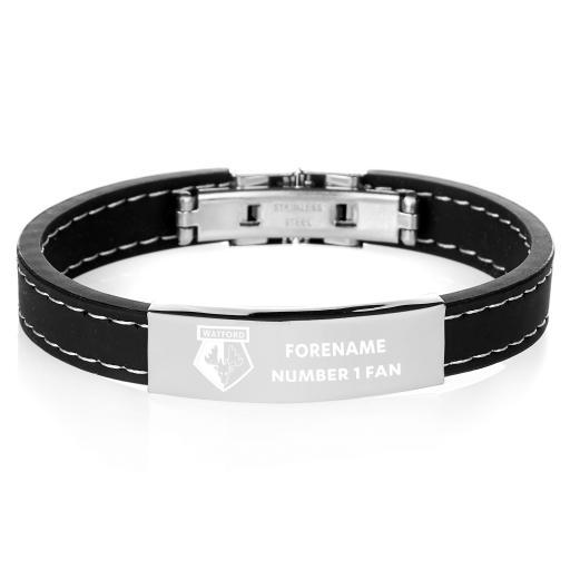 Watford FC Steel & Rubber Bracelet