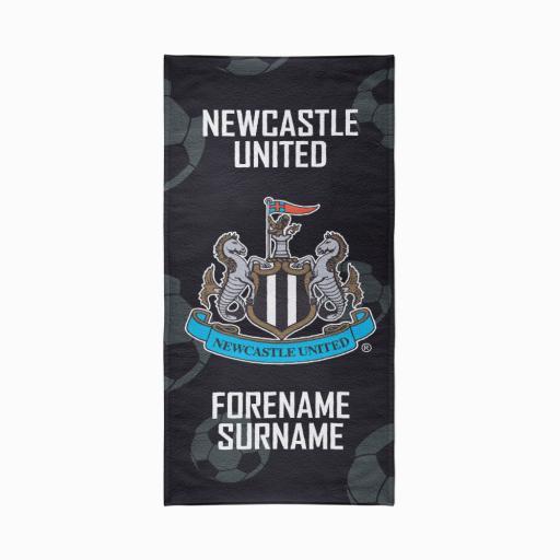 Personalised Newcastle United FC Crest Design Towel - 80cm x 160cm.