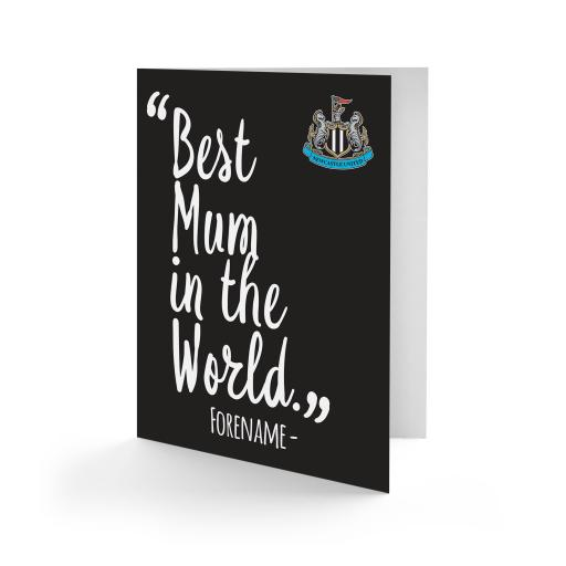 Personalised Newcastle United FC Best Mum In The World Card.