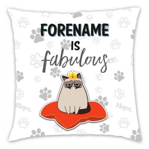 Grumpy Cat Emoji - Fabulous Cushion Grey