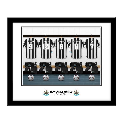 Personalised Newcastle United FC Legends Dressing Room Framed Print.