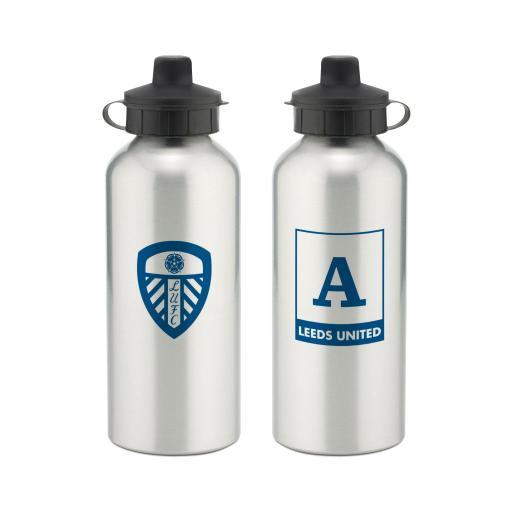 Personalised Leeds United FC Monogram Aluminium Water Bottle.