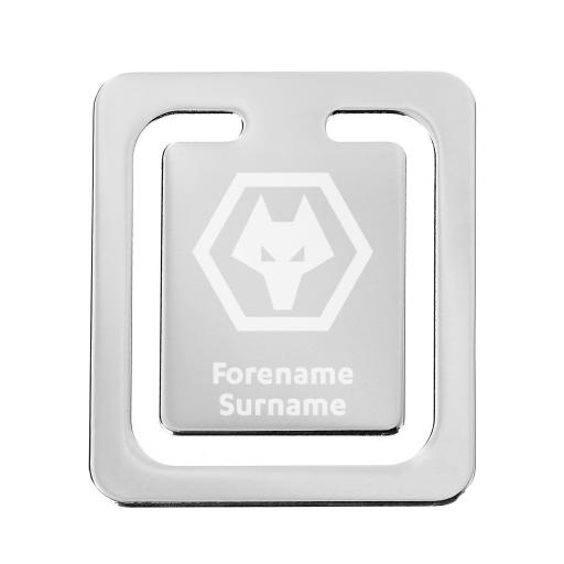 Personalised Wolves Crest Bookmark.