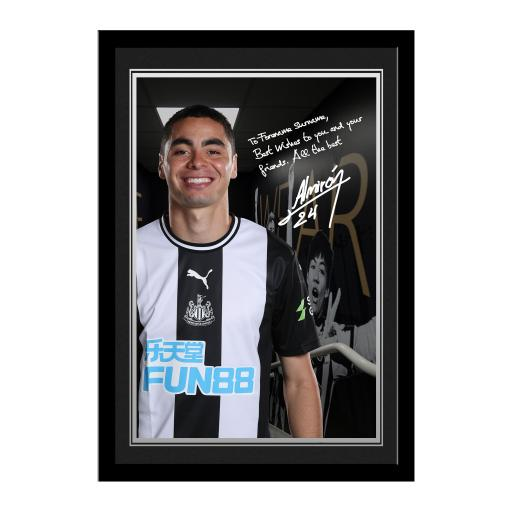 Personalised Newcastle United FC Almiron Autograph Photo Framed.