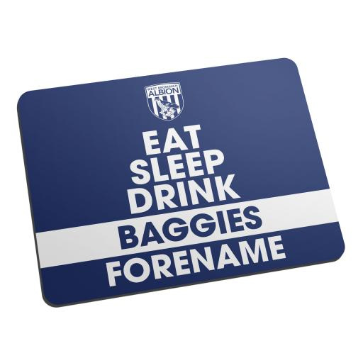 Personalised West Bromwich Albion FC Eat Sleep Drink Mouse Mat.