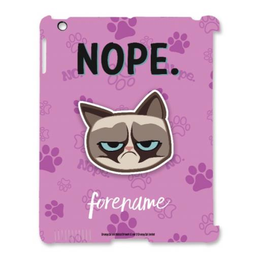 Grumpy Cat Emoji - Nope iPad Case Pink