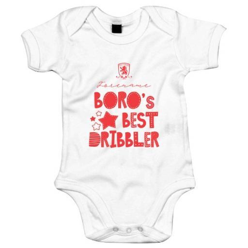 Personalised Middlesbrough FC Best Dribbler Baby Bodysuit.