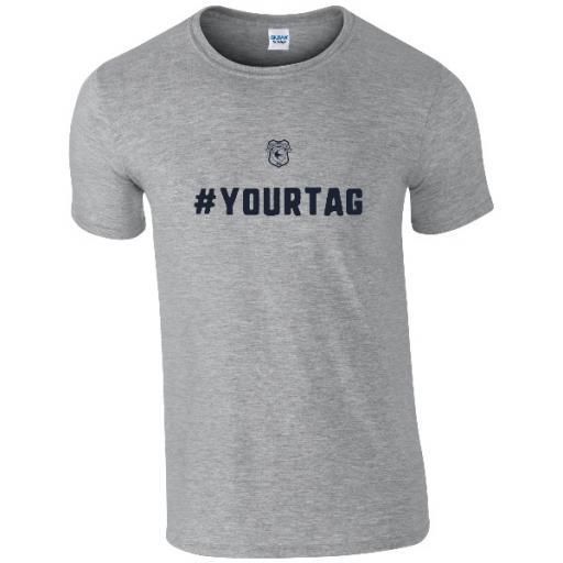 Personalised Cardiff City FC Crest Hashtag T-Shirt.