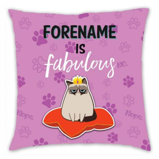 Grumpy Cat Emoji - Fabulous Cushion Pink
